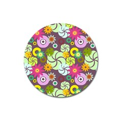 Floral Seamless Rose Sunflower Circle Red Pink Purple Yellow Magnet 3  (round)
