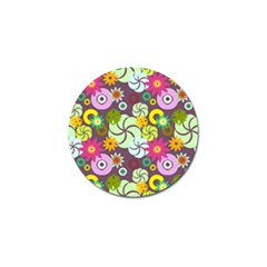 Floral Seamless Rose Sunflower Circle Red Pink Purple Yellow Golf Ball Marker (10 Pack)