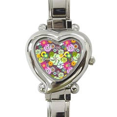 Floral Seamless Rose Sunflower Circle Red Pink Purple Yellow Heart Italian Charm Watch