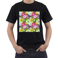 Floral Seamless Rose Sunflower Circle Red Pink Purple Yellow Men s T Shirt (black) (two Sided)