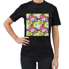 Floral Seamless Rose Sunflower Circle Red Pink Purple Yellow Women s T-Shirt (Black) (Two Sided)
