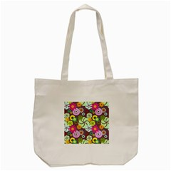 Floral Seamless Rose Sunflower Circle Red Pink Purple Yellow Tote Bag (Cream)