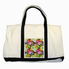 Floral Seamless Rose Sunflower Circle Red Pink Purple Yellow Two Tone Tote Bag