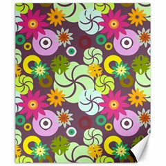 Floral Seamless Rose Sunflower Circle Red Pink Purple Yellow Canvas 20  x 24