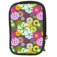 Floral Seamless Rose Sunflower Circle Red Pink Purple Yellow Compact Camera Cases