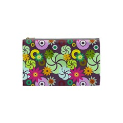 Floral Seamless Rose Sunflower Circle Red Pink Purple Yellow Cosmetic Bag (Small)
