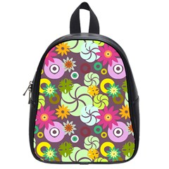 Floral Seamless Rose Sunflower Circle Red Pink Purple Yellow School Bags (Small)