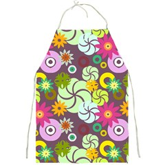 Floral Seamless Rose Sunflower Circle Red Pink Purple Yellow Full Print Aprons