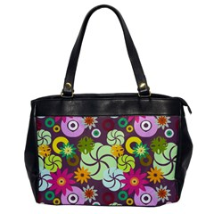 Floral Seamless Rose Sunflower Circle Red Pink Purple Yellow Office Handbags