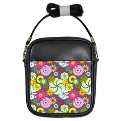 Floral Seamless Rose Sunflower Circle Red Pink Purple Yellow Girls Sling Bags