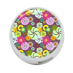 Floral Seamless Rose Sunflower Circle Red Pink Purple Yellow 4-Port USB Hub (One Side)