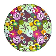 Floral Seamless Rose Sunflower Circle Red Pink Purple Yellow Ornament (Round Filigree)