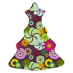 Floral Seamless Rose Sunflower Circle Red Pink Purple Yellow Ornament (Christmas Tree)
