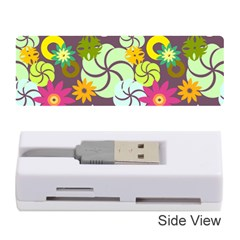 Floral Seamless Rose Sunflower Circle Red Pink Purple Yellow Memory Card Reader (Stick)