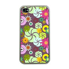 Floral Seamless Rose Sunflower Circle Red Pink Purple Yellow Apple iPhone 4 Case (Clear)
