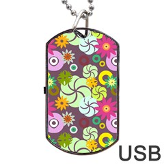 Floral Seamless Rose Sunflower Circle Red Pink Purple Yellow Dog Tag USB Flash (One Side)
