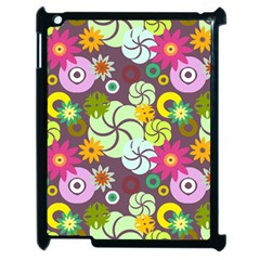 Floral Seamless Rose Sunflower Circle Red Pink Purple Yellow Apple iPad 2 Case (Black)