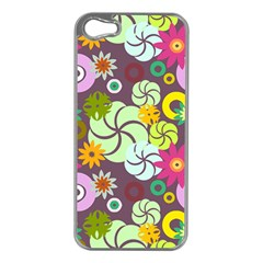 Floral Seamless Rose Sunflower Circle Red Pink Purple Yellow Apple iPhone 5 Case (Silver)