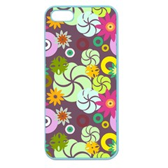 Floral Seamless Rose Sunflower Circle Red Pink Purple Yellow Apple Seamless iPhone 5 Case (Color)