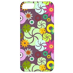 Floral Seamless Rose Sunflower Circle Red Pink Purple Yellow Apple iPhone 5 Classic Hardshell Case