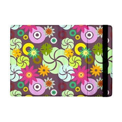 Floral Seamless Rose Sunflower Circle Red Pink Purple Yellow Apple iPad Mini Flip Case