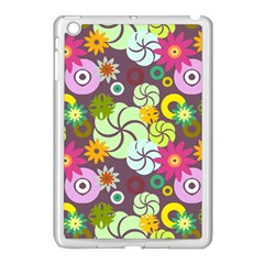 Floral Seamless Rose Sunflower Circle Red Pink Purple Yellow Apple iPad Mini Case (White)