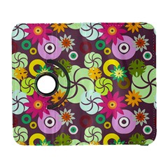 Floral Seamless Rose Sunflower Circle Red Pink Purple Yellow Galaxy S3 (Flip/Folio)