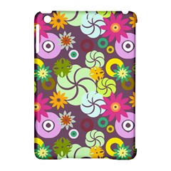 Floral Seamless Rose Sunflower Circle Red Pink Purple Yellow Apple iPad Mini Hardshell Case (Compatible with Smart Cover)