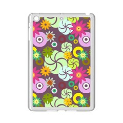 Floral Seamless Rose Sunflower Circle Red Pink Purple Yellow iPad Mini 2 Enamel Coated Cases