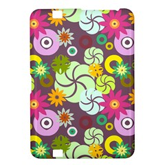 Floral Seamless Rose Sunflower Circle Red Pink Purple Yellow Kindle Fire HD 8.9