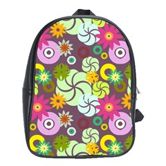 Floral Seamless Rose Sunflower Circle Red Pink Purple Yellow School Bags (xl)