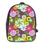 Floral Seamless Rose Sunflower Circle Red Pink Purple Yellow School Bags (XL)  Front