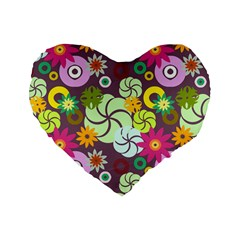 Floral Seamless Rose Sunflower Circle Red Pink Purple Yellow Standard 16  Premium Heart Shape Cushions