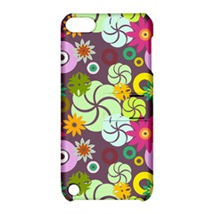 Floral Seamless Rose Sunflower Circle Red Pink Purple Yellow Apple iPod Touch 5 Hardshell Case with Stand