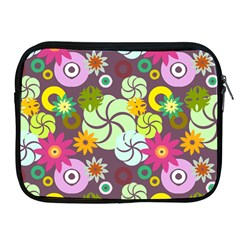 Floral Seamless Rose Sunflower Circle Red Pink Purple Yellow Apple iPad 2/3/4 Zipper Cases