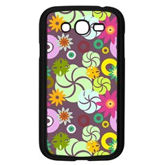 Floral Seamless Rose Sunflower Circle Red Pink Purple Yellow Samsung Galaxy Grand DUOS I9082 Case (Black)