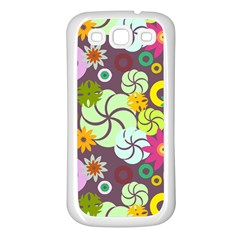 Floral Seamless Rose Sunflower Circle Red Pink Purple Yellow Samsung Galaxy S3 Back Case (White)