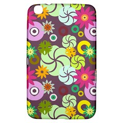Floral Seamless Rose Sunflower Circle Red Pink Purple Yellow Samsung Galaxy Tab 3 (8 ) T3100 Hardshell Case