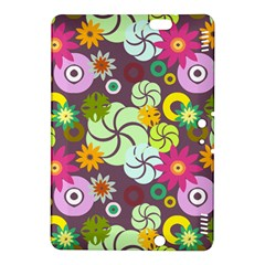 Floral Seamless Rose Sunflower Circle Red Pink Purple Yellow Kindle Fire HDX 8.9  Hardshell Case