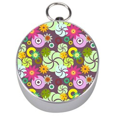 Floral Seamless Rose Sunflower Circle Red Pink Purple Yellow Silver Compasses