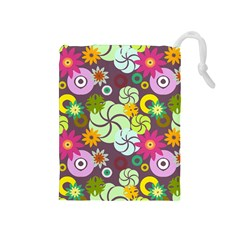 Floral Seamless Rose Sunflower Circle Red Pink Purple Yellow Drawstring Pouches (Medium)