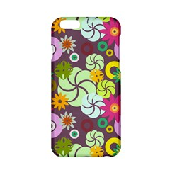Floral Seamless Rose Sunflower Circle Red Pink Purple Yellow Apple iPhone 6/6S Hardshell Case