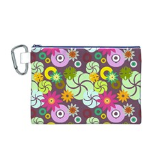 Floral Seamless Rose Sunflower Circle Red Pink Purple Yellow Canvas Cosmetic Bag (M)