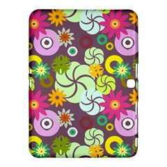 Floral Seamless Rose Sunflower Circle Red Pink Purple Yellow Samsung Galaxy Tab 4 (10.1 ) Hardshell Case