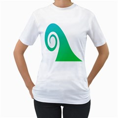 Line Green Wave Women s T Shirt (white) (two Sided)