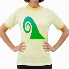 Line Green Wave Women s Fitted Ringer T-Shirts