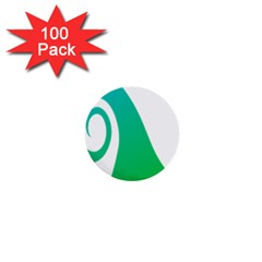 Line Green Wave 1  Mini Buttons (100 pack)