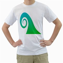 Line Green Wave Men s T-Shirt (White) (Two Sided)