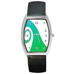 Line Green Wave Barrel Style Metal Watch