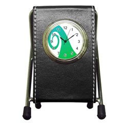 Line Green Wave Pen Holder Desk Clocks